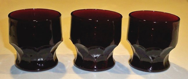 Vintage Anchor Hocking Royal Ruby Georgian Juice Glasses - Set of 3