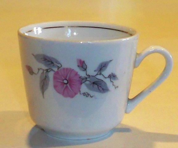 Vintage Kahla Porcelain Pink Morning Glory Cup - Set of 2