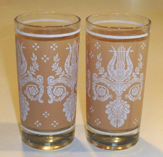 Vintage Lyre & Laurel Motif Glass Tumbler - Set of 5