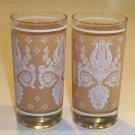 Vintage Lyre & Laurel Motif Glass Tumbler - Set of 5