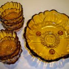 Vintage Heavy Amber Glass Sunflower Footed Serving Salad Bowl with 6 Individual Bowls