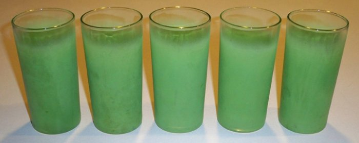 Vintage West Virginia FROSTED Green Tumblers - Blendo Set of 5