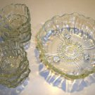 Vintage Heavy Clear Glass Sunflower Footed Serving Salad Bowl with 6 Individual Bowls