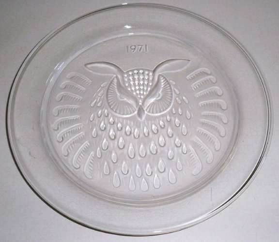 Vintage Lalique Plate 1971 Owl Collector's Series
