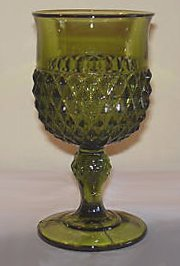 Vintage Indiana Glass Diamond Point Olive Green Water Goblet