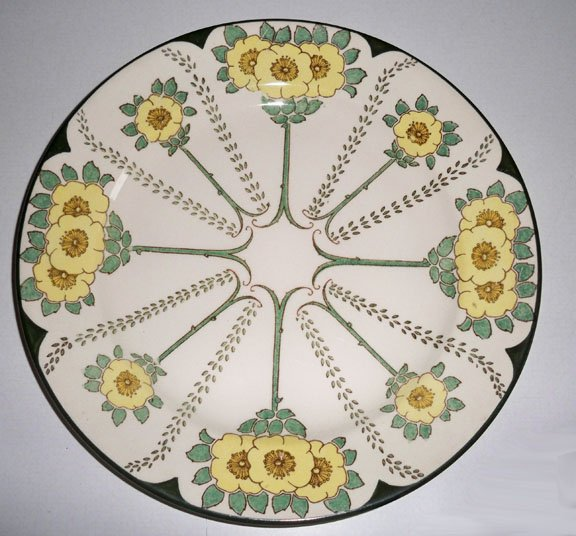 Vintage Royal Doulton #D3062 Art Nouveau Yellow Floral Dinner Plate