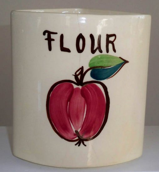 Vintage Fruit Apple Lazy Susan Ceramic Canister FLOUR