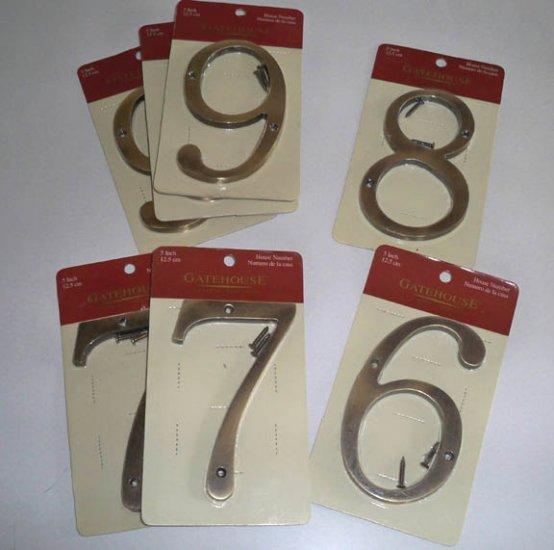 "Gatehouse 5"" Solid Zinc Antique Brass House Address Number NIP"