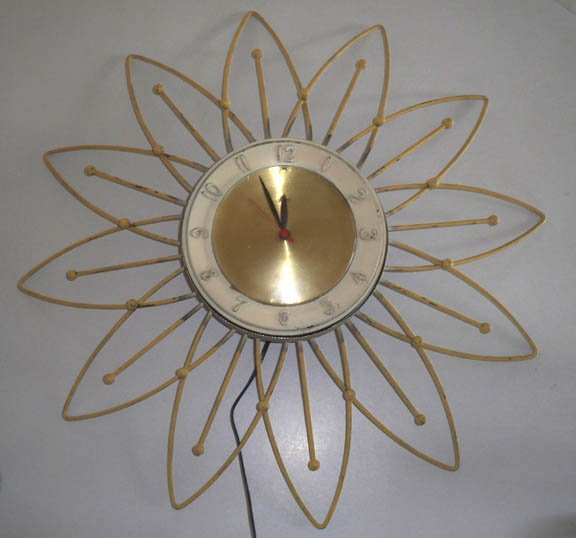 Vintage Retro LUX Flower Burst Atomic Daisy Electric Wall Clock
