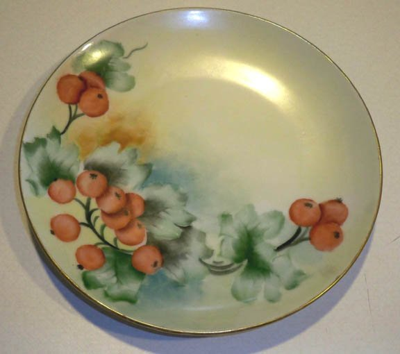 Vintage H. Wehinger Red Berries & Leaves Handpainted Plate - Austria