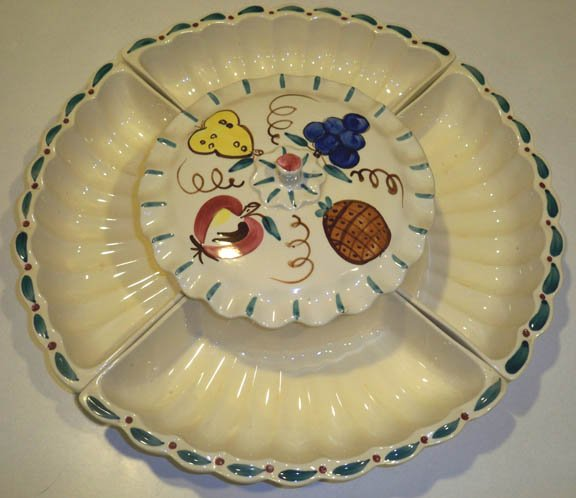 Vintage Purinton Fruit Lazy Susan Relish / Snack Server Ceramic 6 Piece Set