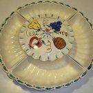 Vintage Purinton Fruit Lazy Susan Relish / Snack Server Ceramic 6 Piece Set