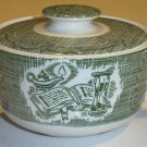 Royal USA Green Old Curiosity Sugar Bowl w/ Lid - Hinges