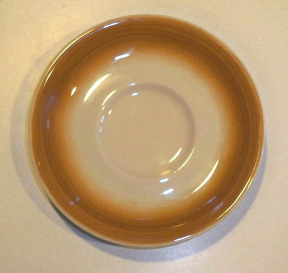 Vintage Shenango Anchor Hocking Brush Caramel Brown Saucer - Set of 4