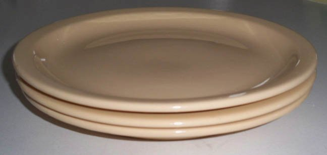 Vintage Buffalo China Cafe Restaurant Ware Tan Dinner Plate - Set of 3