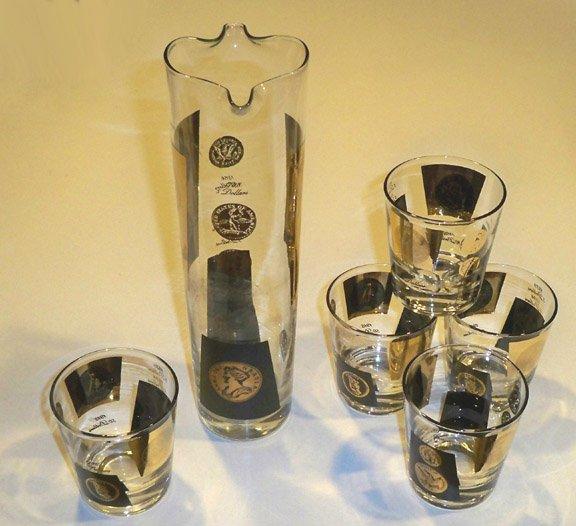 Vintage Retro Black & Gold Martini Pitcher Server & 5 Glasses