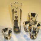 Vintage Retro Black & Gold Martini Pitcher Server & 5 Glasses
