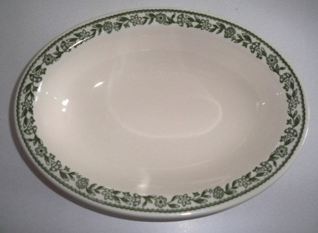 Buffalo China Kenmore Green BUF43 Oval Serving Bowl