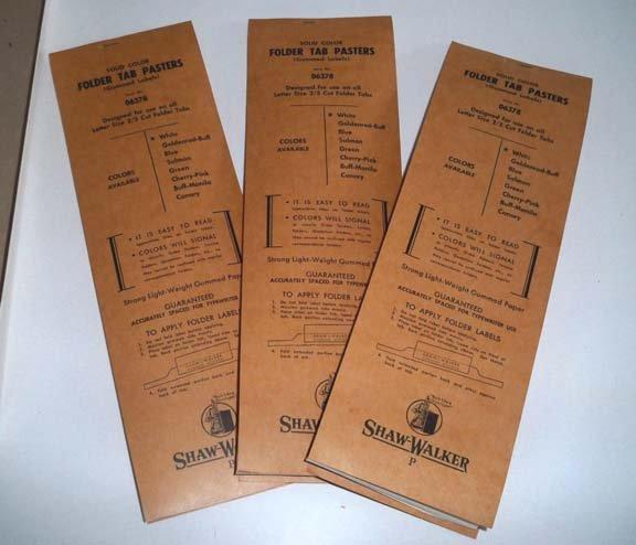 Vintage Shaw Walker Folder Tab Pasters for 2/5 Cut Folder Tabs - Set of 3