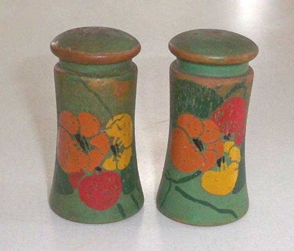 Vintage Hand Painted Art Deco Floral Wood Salt and Pepper Shaker Set