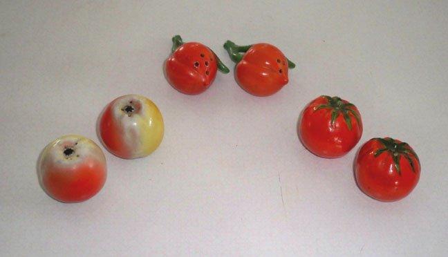 Set of 3 Vintage Miniature Fruit Vegetable Ceramic Salt and Pepper Shaker Set