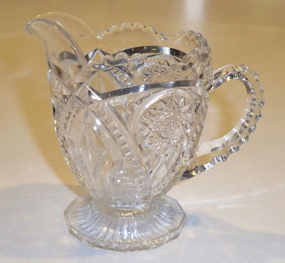 Vintage Imperial Glass EAPG Arches Zipper Hobstar Creamer