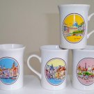Vintage Coloroll Kilncraft Coffee Mugs - Set of 5 Cafe Francais Vienna Orange Capuccino Swisse Mocha