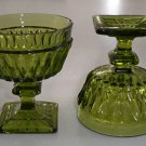 Vintage Indiana Glass Mt. Vernon Dark Green Tall Sherbet Dessert Stemware - Set of 4