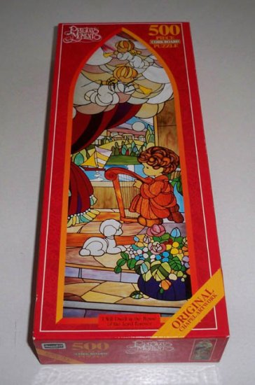 1997 Precious Moments 500 Piece Cork Board Puzzle 'I Will Dwell in the House of the Lord Forever'