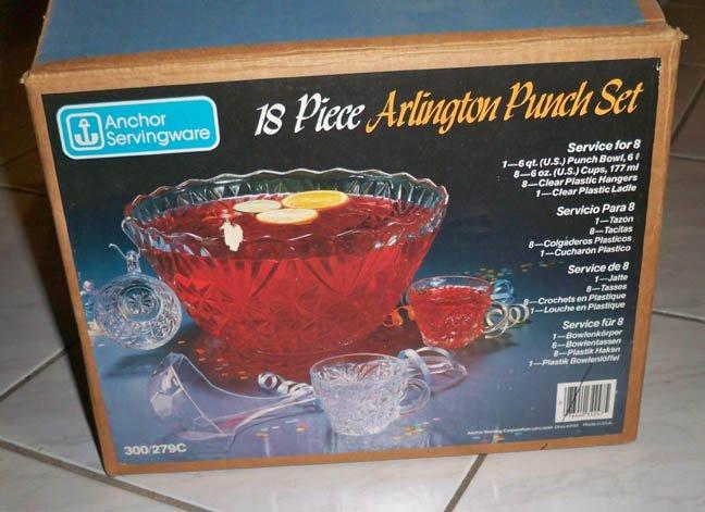 Vintage Anchor Hocking Arlington Punch Set MIB