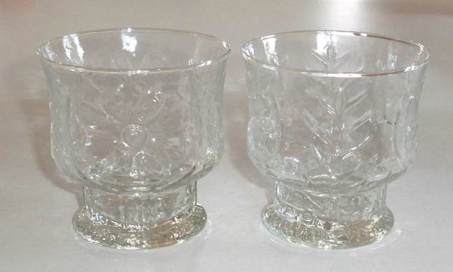 Vintage Libbey Country Garden Clear Old Fashioned Tumblers Set of 3