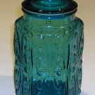 Federal Glass Scrolls Embossed Blue Glass Hexagon Jar Canister with Lid Set of 3