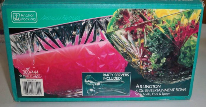 Vintage Anchor Hocking Arlington Entertainment Punch Salad Bowl Set MIB