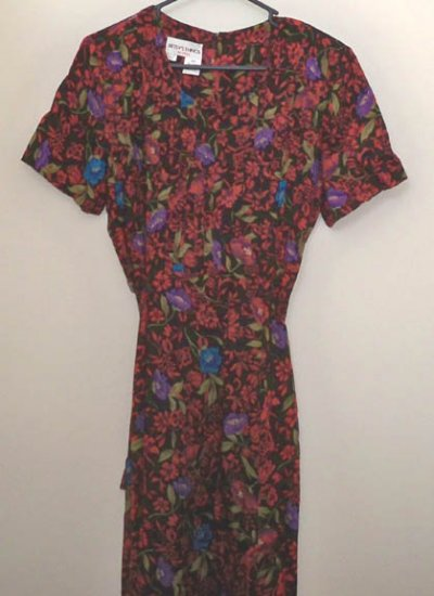 Betsy's Things Petites Floral Print Short Sleeve Long Rayon Dress - Size 12P