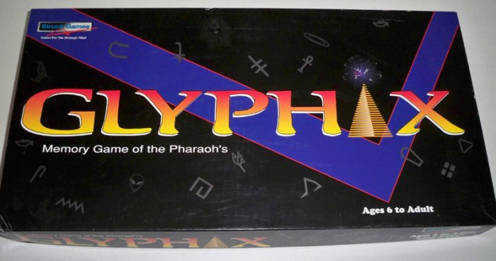 Vintage 1996 Strunk Games Glyphix Memory Game of the Pharaoh's Board Game