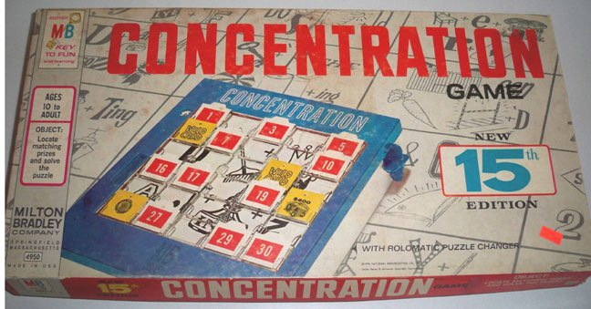 Vintage Mb 1959 Concentration Game 4950 15th Edition