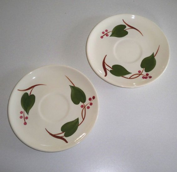 Vintage Blue Ridge Handpainted Stanhome Ivy Saucer (no cup) Set of 2