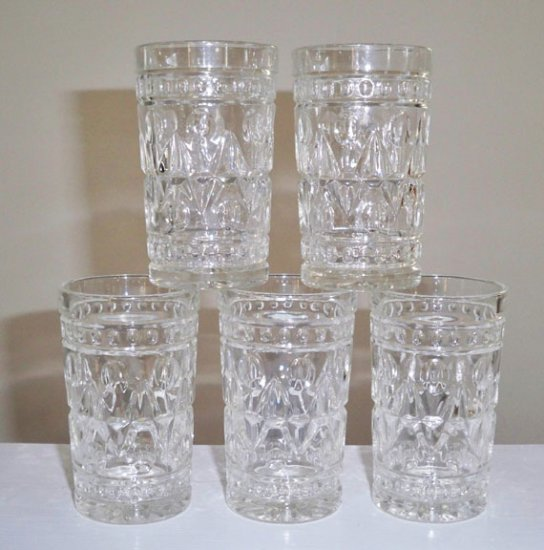 Vintage Indiana Glass Park Lane Clear Juice Glass Set of 6