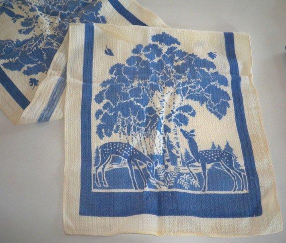 Vintage Blue & White Silouette Deer / Forest Tea Towel 16x27