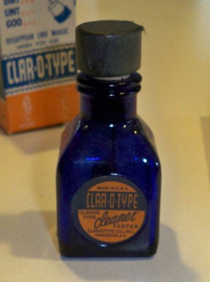 Vintage Cobalt Blue Bottle CLAR-O-TYPE Typewriter Cleaner w/ Original Box