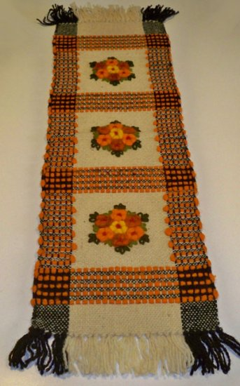 Vintage Wool Embroidered Hand Made in Poland Rug