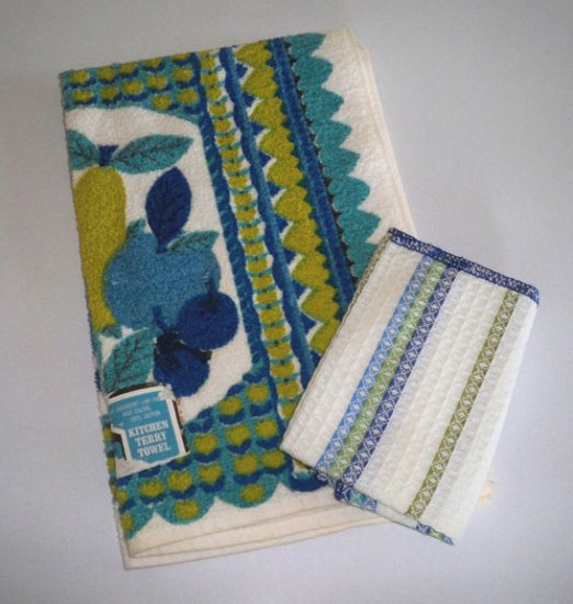 Vintage Style House Kitchen Terry Towel 70s NWT