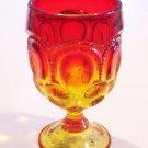 "Vintage Amberina Moon & Stars Water Goblet - 5 7/8"""