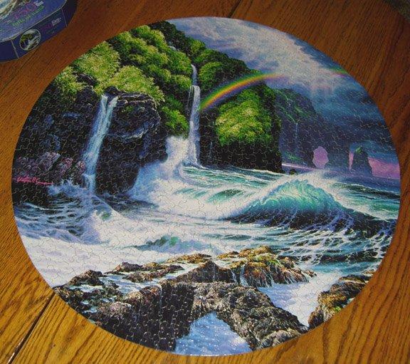 "Ceaco 1997 Christian Riese Lassen - Falls of Hana #2930-5 - 750 Pc. 24"" Round Jigsaw Puzzle"