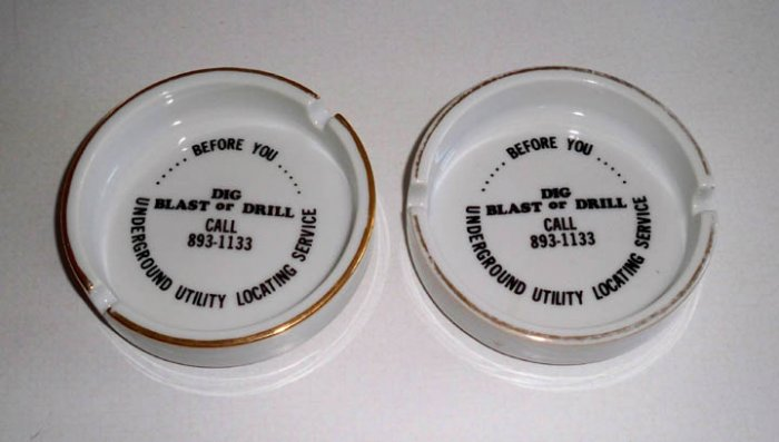 Underground Utilities Locating Service Advertising Ashtray - Set of 2