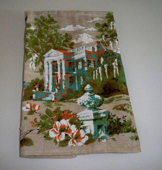 Vintage Parisian Linens Tea Towel Southern Plantation Steamboat Scene
