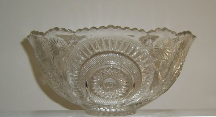 Vintage EAPG U.S. Glass Slewed Horseshoe Flared Punch Bowl, 12 Punch Cups & Glass Ladle