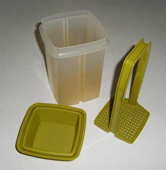 Vintage 1970s Tupperware White / Avocado Pick A Deli Pickle Keeper #1330-7