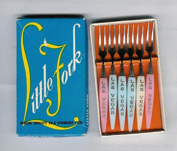 """Vintage Las Vegas Shrimp Cocktail Forks """"Little Fork"""" Set of 6 in Original Box MIJ"""