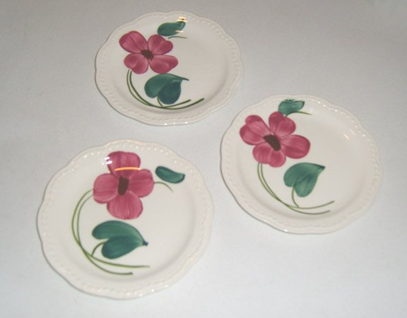 Vintage Stetson Handpainted Red Flower Heritage Ware Bread Plate Set of 3